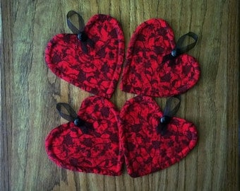 Fabric Heart Coasters - Set of 4