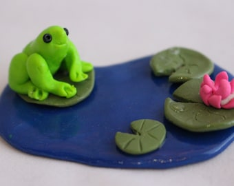 Handmade Frog Pond with Lily Pads, Sculpey, Polymer Clay, Fairy Garden, Miniature Garden, Terrarium, Miniature Pond, Kawaii