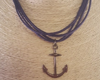 Navy Blue Layered Felt Chord Necklace with Gunmetal Anchor