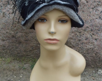 fleece and felt black and gray hat