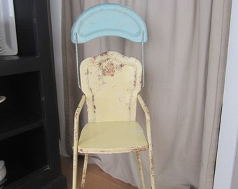 Vintage AMSCO Metal Doll High Chair Butter yellow And Blue Tray Metal Nice Patina