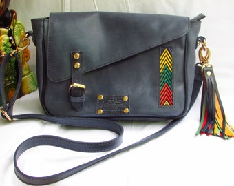 messenger bag, Blue cross body, pull up leather bag, distressed leather bag, shoulder bag, Messenger Bag, leather Bag, women side bag