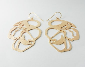 Earrings gold plated 925 / - sterling silver with 750 / - red gold