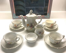 Vintage Toy China Tea Set, Service For 4, Boxed - Made in Germany By Roehler