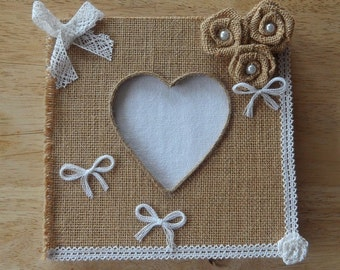 Guestbook in Burlap and lace