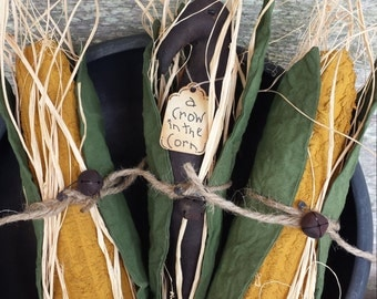 Primitive Crow /Primitive Corn Cobs Large Bowl Filler, Rustic Crow & Corn Cobs, Fall Crow With Corn Cobs, Crow Shelf Tuck, Corn Cob Ornies