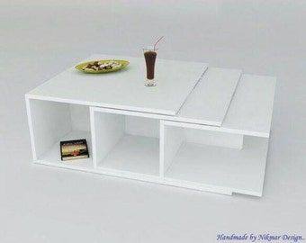Boutique Coffee Table, Multifunctional Coffee Table, White Table, Designer Furniture, Living Room, Handmade Table