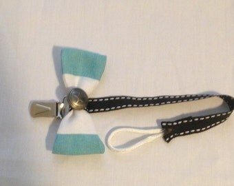 Blue and White Bow Tie Pacifier Clip