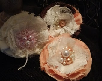3 piece shabby chic fabric flower