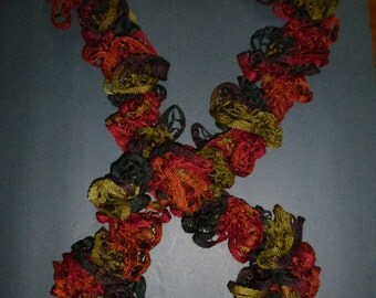 Multi-Colored Crocheted Scarf - Fall Colors - 87 Inches Long