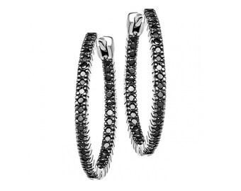 14k Gold Hoop Earrings, Black Diamond Earrings, Fashionable Earrings