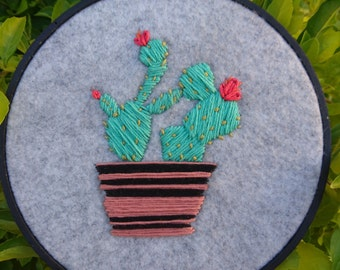 Potted Cactus Embroidery - Hand Made - Wall Art - Gift Idea