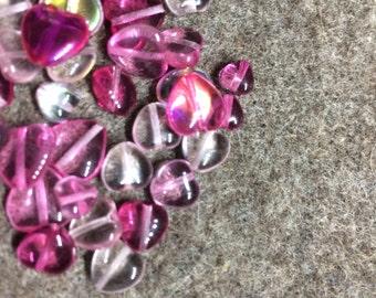 Glass heart mix - pink - box 15gr