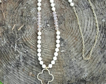 Ivory and Blush Quatrefoil Necklace with Stone