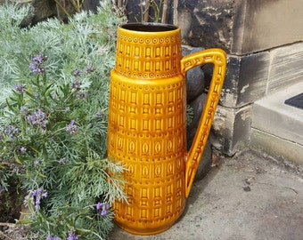 Scheurich 416-45: Vintage West German Ceramic Floor Vase from the Fat Lava Era with Inka Decor in Ochre Yellow - UK Seller