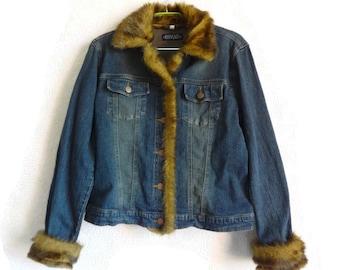 Denim Jacket Faux Fur Sleeve Edge and Collar Women's Autumn Jacket Blue Denim Jacket M to L Size Jacket Autumn Clothing Girl's  Jean Jacket