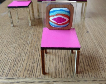 Modern Miniature Hipster Dining Chair 1/12 Scale