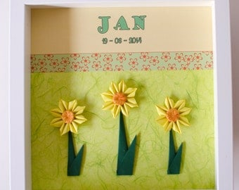 Origami personalized *NAME* and *DATE* sunflower shadowbox