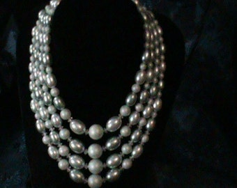 Vintage Four Strand Faux Pearl Necklace