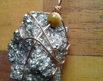copper wire wrapped pyrite  and tigers eye pendant