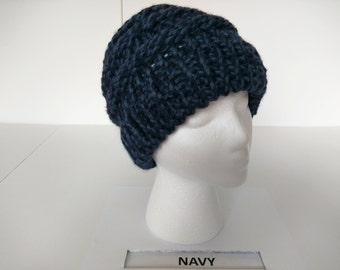 Loom knit Navy Slouch Hat
