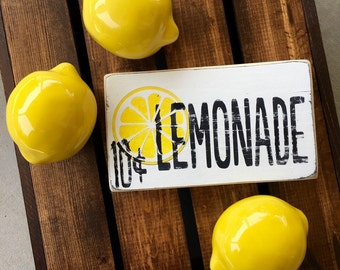 Lemonade- lemon wood sign- rustic