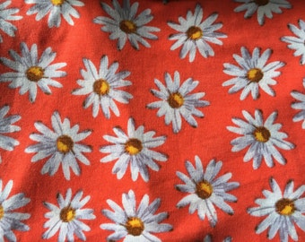 Fire Red Daisy Floral Headwrap or Turban
