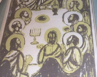 """MId Century Print of the Last Supper 20""""x30"""" signed J C Heiley"""