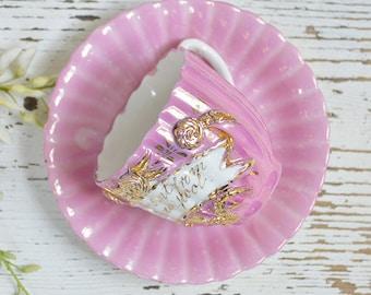 Vintage 3D pink teacup and saucer