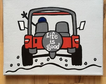 8x10 Life Is Good jeep canvas painting