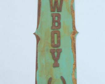 Cowboy Up Sign - Rustic - Western- Horseshoe- Vintage - Antique