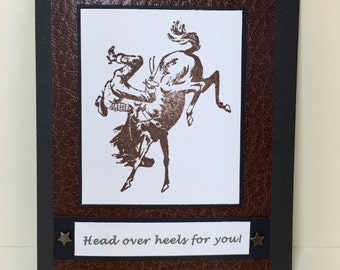 Cowboy Note Card, Bucking Horse, Western, Cowboy, Bronc, Handmade