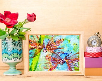 Dragonflies Abstract Art Print