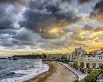 Biarritz sunrise. Color photograph of the sunrise over Biarritz. Fine art photography