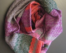 Lilac cowl scarf Green warmer Multicolor Ribbed Knit snood Circle tube scarf Knitted Infinity scarf