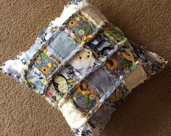 Pillow Cover Flannel Ragged Sunflower - Flannel Ragged Pillow Cover Sunflower - Flannel Pillow Cover Sunflower