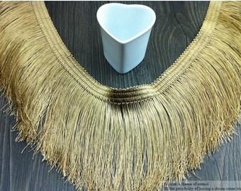 "2 yard 11cm 4.33"" wide gold tassels fringes tapes lace trim ribbon md37hb  free ship"