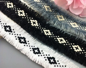 "5 yard 3cm 1.18"" wide black/ivory/gray fringe lace trim ribbon tapes md64hf free ship"