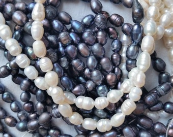 Sale! Buy 2 get 1 free! Natural Freshwater Rice pearls/loose pearls/pearl beads/oval pearls/white pearls