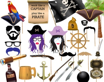 """Pirate Party Photo booth Props: """"PRINTABLE PARTY PROPS"""" Photobooth Prop Birthday Party Photo Booth Prop Pirate photo props Party Photo Props"""