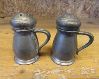 Vintage Pewter JCB Salt and Pepper Shakers