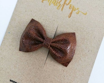 Genuine Leather Bow Clip - Antique Brown