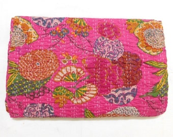 Indian Handmade Tropical Print Kantha Bedspread Queen Size Throw Cotton Blanket