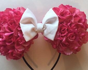 Pink Flower Minnie Ears Headband, Pink Rose Mickey Ears Headband, Rose Floral Disney Ears