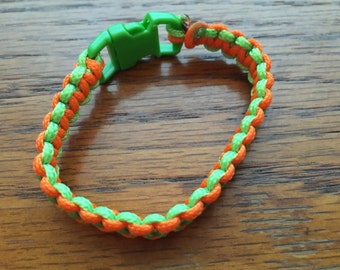 Paracord Bracelet - Orange & Lime Green