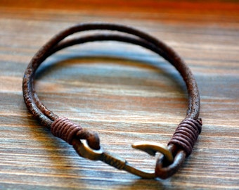 Fish Hook Brown Leather Bracelet