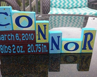 personalized baby announcment baby shower, gift wooden blocks boy or girl