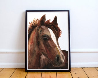 Chestnut Horse Original Watercolor Painting