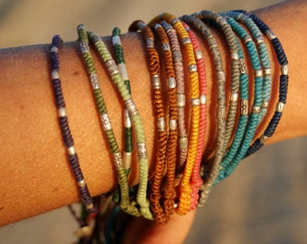 Colorful Bracelet, Anklet, Silver, Cotton, Gipsy, Hippie, Boho, Bracciale Unisex, Cavigliera, Cotone,Argento, Burning Man, Ibiza, Ethnic
