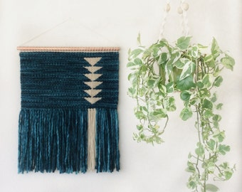 Woven wall hanging / Teal / cream triangles / tapestry
